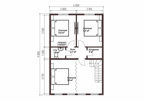 Планировка второго этажа бани 6х9 проект Стремилово.