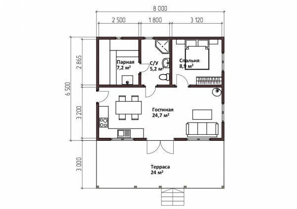 Удобная планировка одноэтажной бани 6,5х8 проект Аксинино.