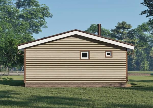 Фасад одноэтажной бани с маленькими окнами 6,5х8 проектАксинино.
