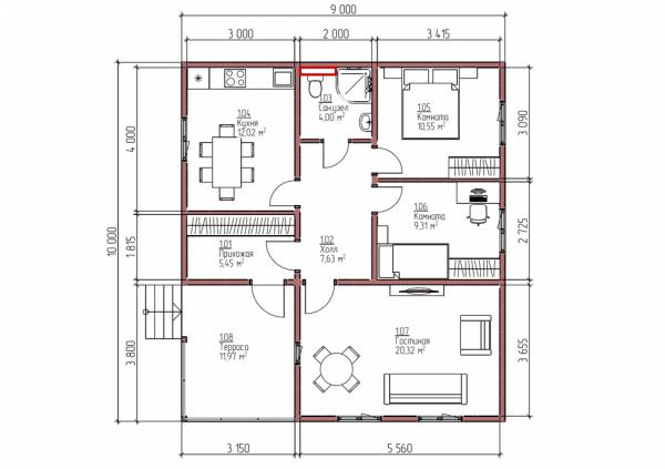 Планировка одноэтажного дома 9х10 проект Юность.