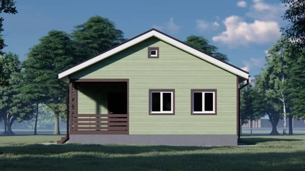 Фасад с двумя окнами и террасой одноэтажного дома 9х10