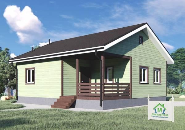 Вид на дачный дом проект Юность размеры 9х10 метров.