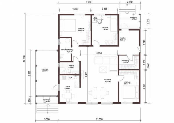 Планировка одноэтажного дома для постоянного проживания 11 на 12 проект Кузнецово.