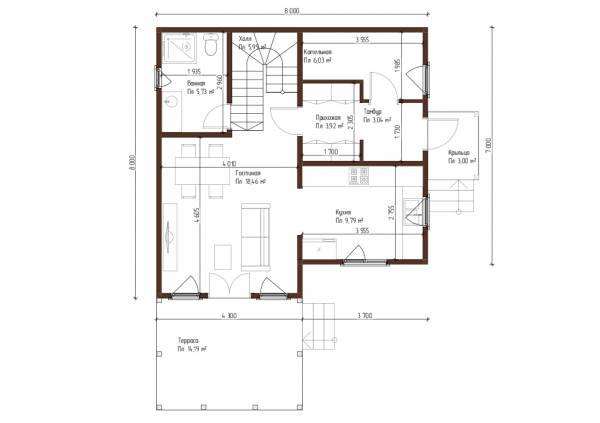 Планировка первого этажа 8х8 дом для постоянного проживания проект Муравьёво.