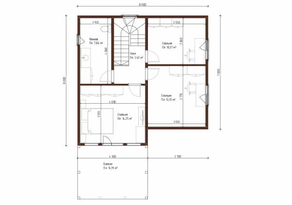 Планировка второ этажа 8х8 дом для постоянного проживания три спальни проект Муравьёво.