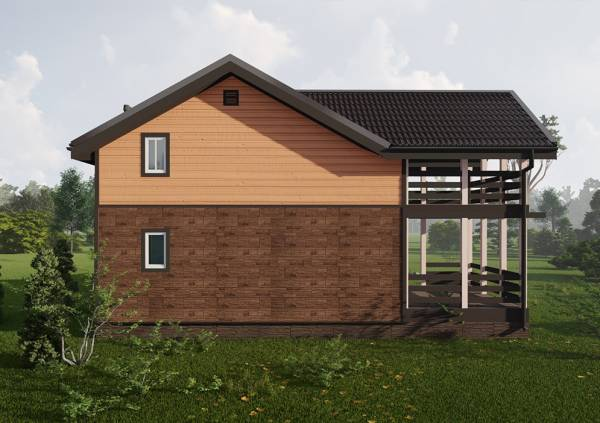 Двухцветный фасад дома 8х8 проект Муравьево для постоянного проживания.