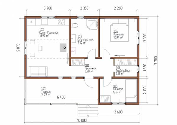 Планировка одноэтажного дома с односкатной кровлей с двумя спальнями проект Дмитрово.
