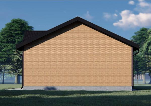 Северный фасад дома бани без окон размер 9х13,5 проект Глухово.