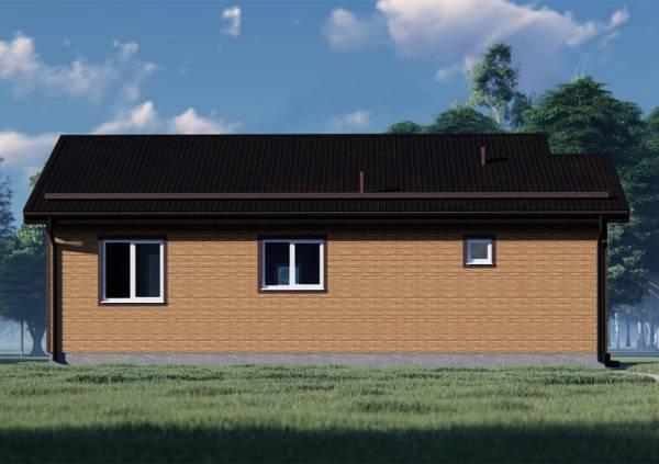 Вид сбоку на дом-банию одноэтажная проект коттеджа Глухово.