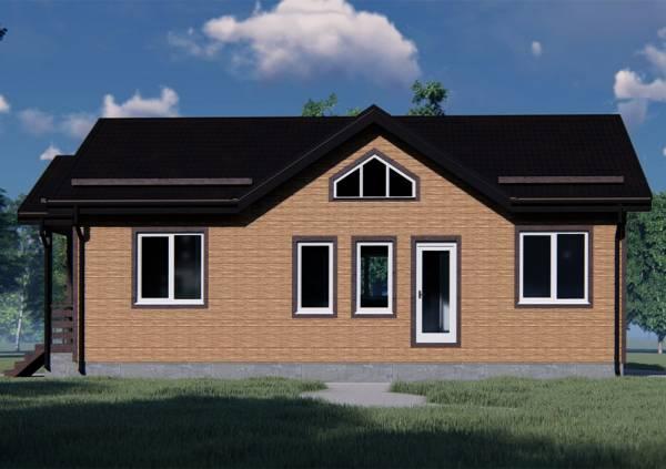 Вид на фасад с окнами дома-бани 9х13,5 проект Глухово.
