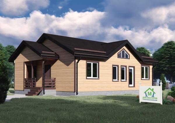 Одноэтажный дом для постоянного проживания с баней проект Глухово 9х13,5