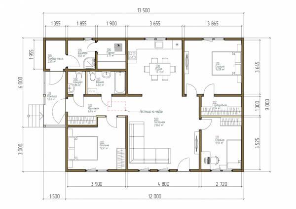 Удобная планировка дома-бани 9х13,5 одноэтажная фото.