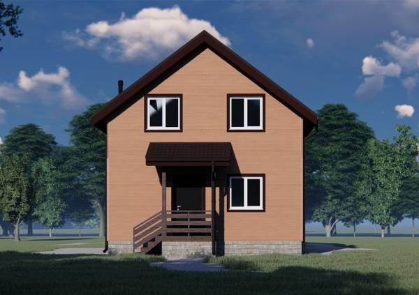 Вид на крыльцо дома 7х11 проект Липино