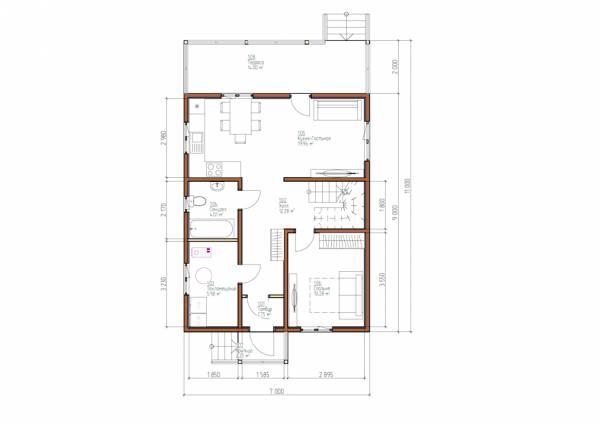 Планировка первого этажа 7х11 проект Липино.