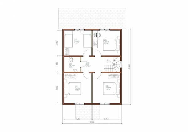 Планировка второго этажа 7х11 проект Липино.