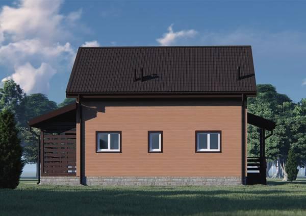 Вид сбоку дома с мансардой 7х11 проект Липино