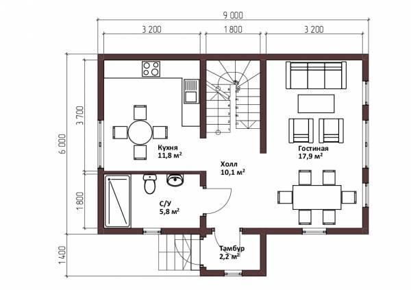 Планировка дома в стиле барнхаус первый этаж проект Лотосово.