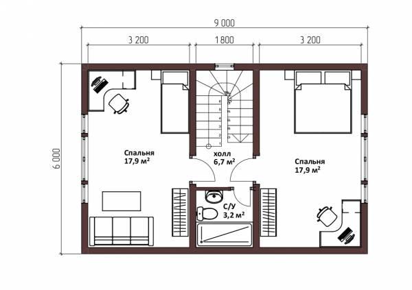 Планировка второго этажа дома в стиле барнхаус проект Лотосово