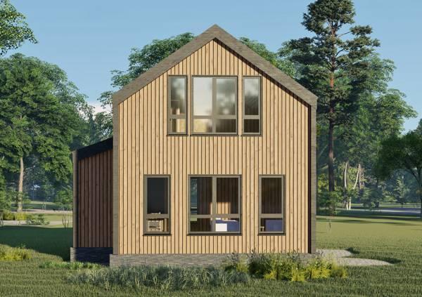 4 окна на фасаде дома в стиле барнхаус проект Лотосово