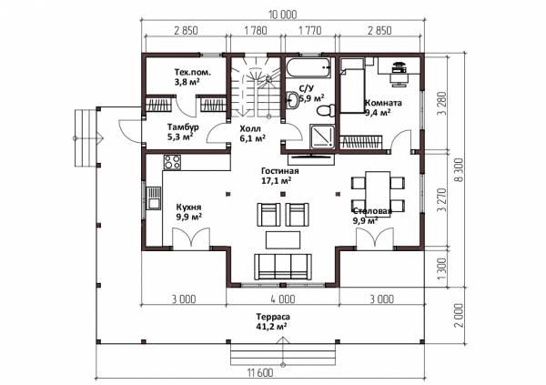 Планировка первого этажа дома 8,3х10 проект Лебедево