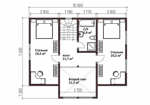 Планировка второго этажа дома 8,3х10 проект Лебедево