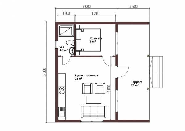 Планировка одноэтажного дома в стиле барнхаус проект Пешково 5х8.