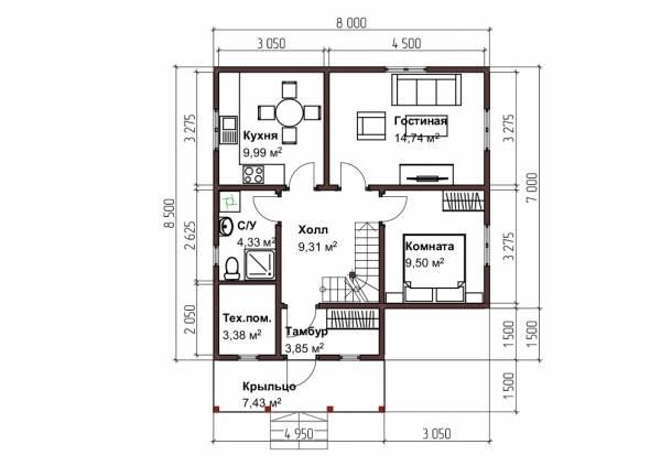 Планировка первого этажа дома 8х8,5 проект Бажанов