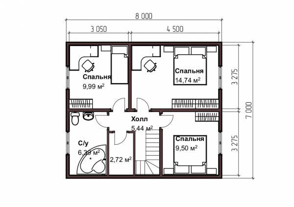 Планировка второго этажа дома 8х8,5 проект Бажанов