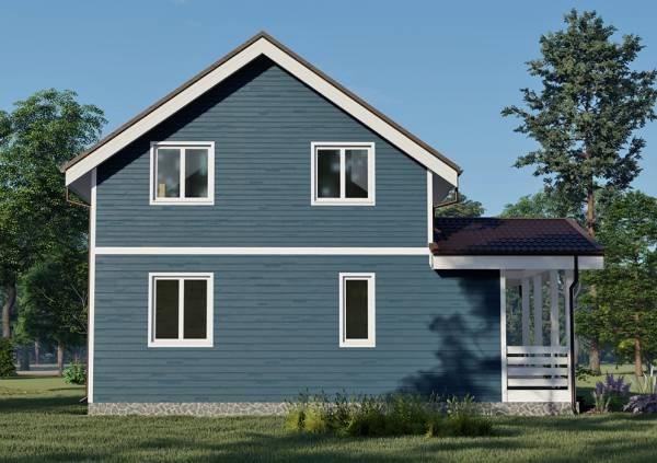 Фасад дома 8х8,5 четыре окна и вид на террасу сбоку проект Бажанов.