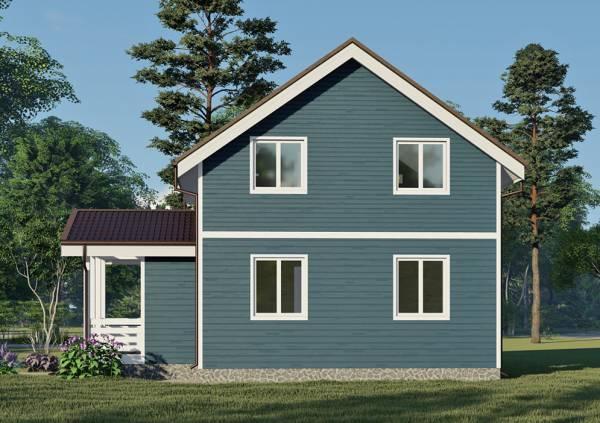 Вид с тылу на дом фасад четыре окна дома 8х8,5м.