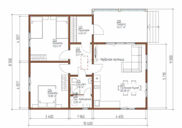 Планировка одноэтажного дачного дома проект Свердловский 8,5х10,6