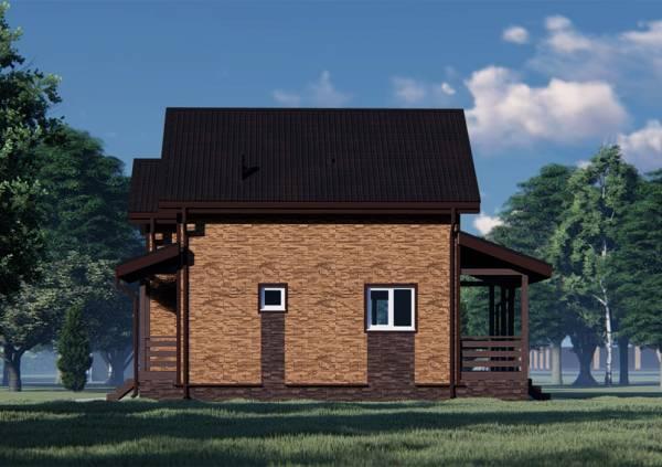 Фасад дома с одним стандартным и одним маленьким окном от санузла.