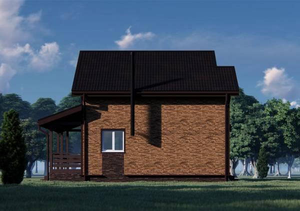 Фасад дома с трубой черного цвета от печки или котла.