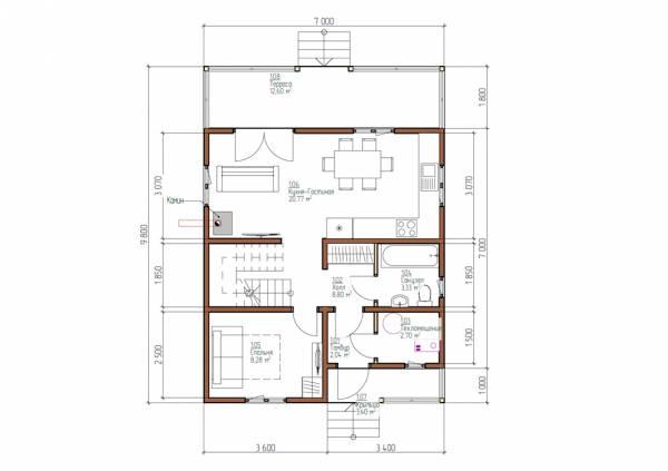 Планировка первого этажа проекта Арханово размеры 7 на 8 м.