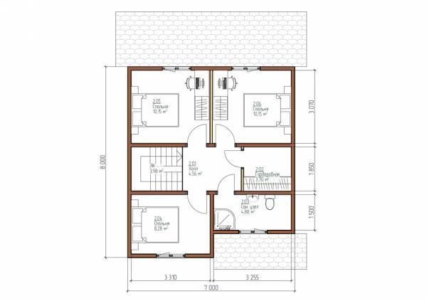 Планировка второго этажа проекта Арханово размером 7х8 м.