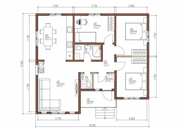 Планировка дачного дома одноэтажный проект Боброво