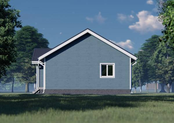 Фасад с одним окном дачный дом.