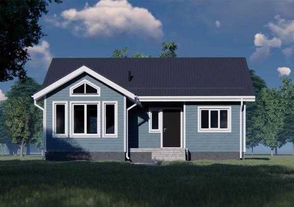Вид на фасад с панорамными окнами одноэтажный дом проект Боброво.