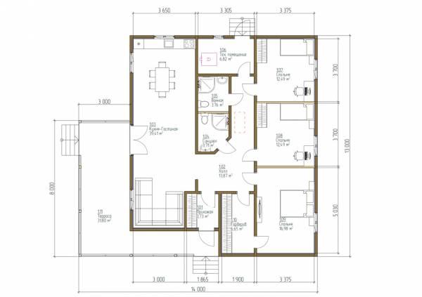 Планировка одноэтажного дома 11х13 проект Ассаурово.