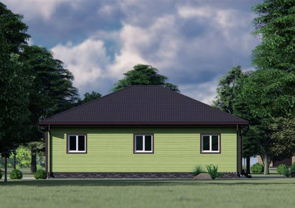 Фасад с окнами одноэтажного дома 11х13 зеленый цвет.