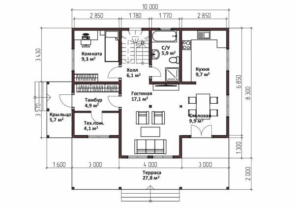 Планировка первого этажа двухэтажного дома 8,3х10 проект Дедлово