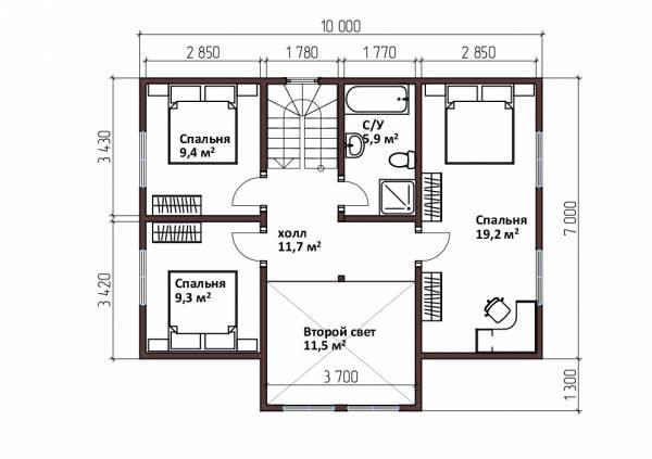 Планировка мансардного этажа двухэтажного дома 8,3х10 проект Дедлово