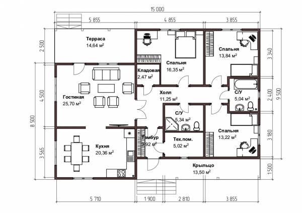 Планировка дома 11х15 одноэтажный 136,8 кв.м.