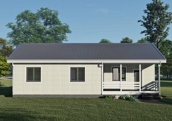 Вид с боку на дом и крыльцо дома 11х15