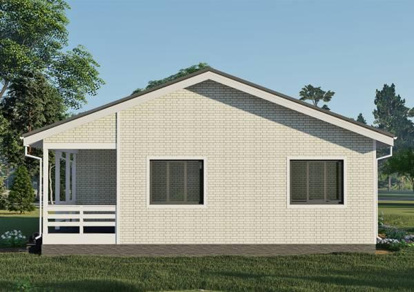 Фасад с двумя окнами одноэтажного дома 11х15 проект