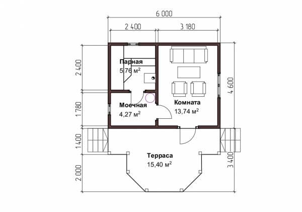 Планировка бани 4,6 на 6 метров проект Митянино