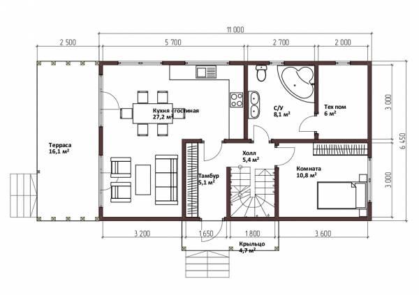 Планировка первого этажа дома в стиле барнхаус