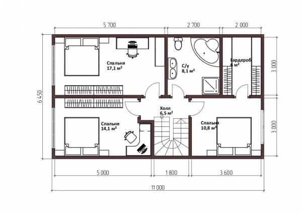 планировка второго этажа дома в стиле барнхаус