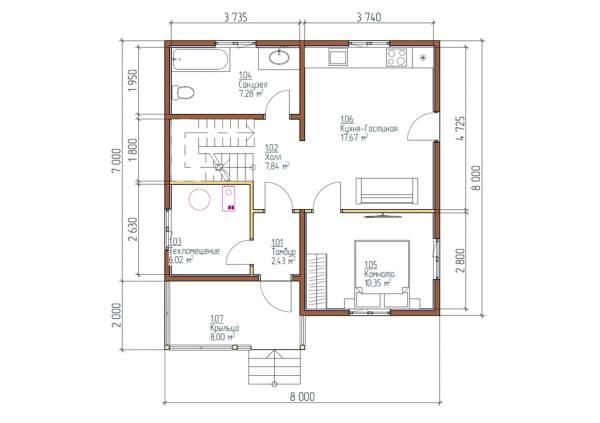 планировка первого этажа дома 8х8