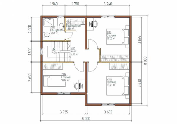 планировка второго этажа дома 8х8